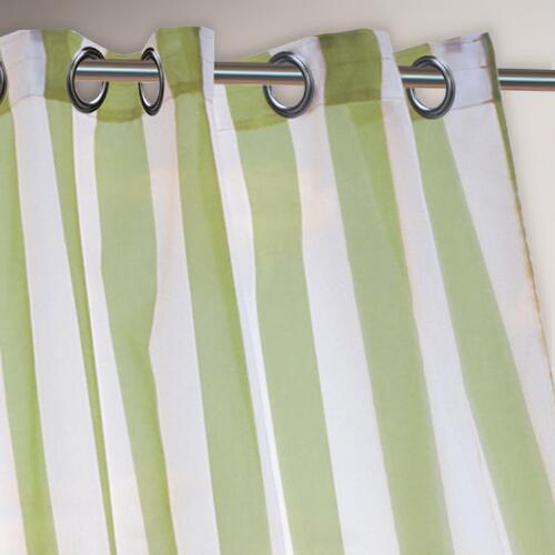Green Striped Escape Grommet Top Curtain