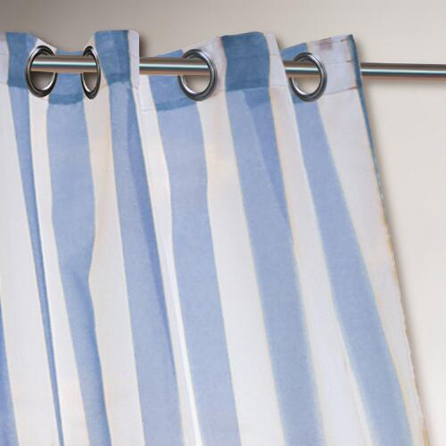 Blue Striped Escape Grommet Top Curtain