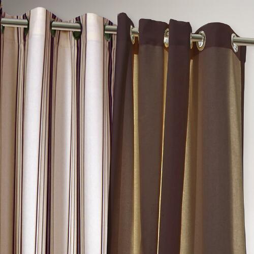 Khaki Striped Gazebo Curtain
