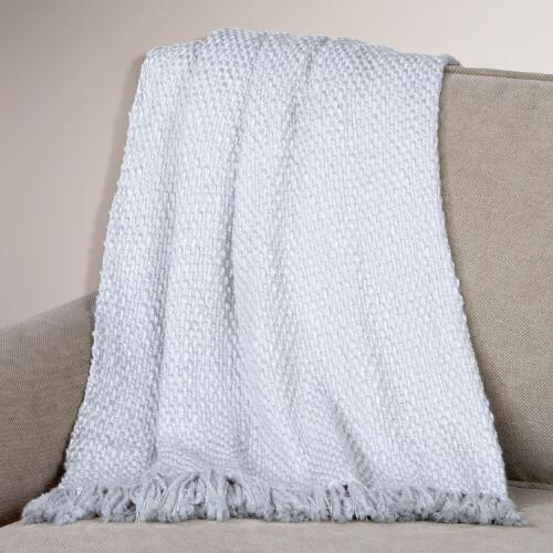 Silver Grey Lurex Basket Weave Throw