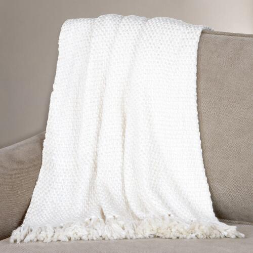 Winter White Lurex Basket Weave Throw