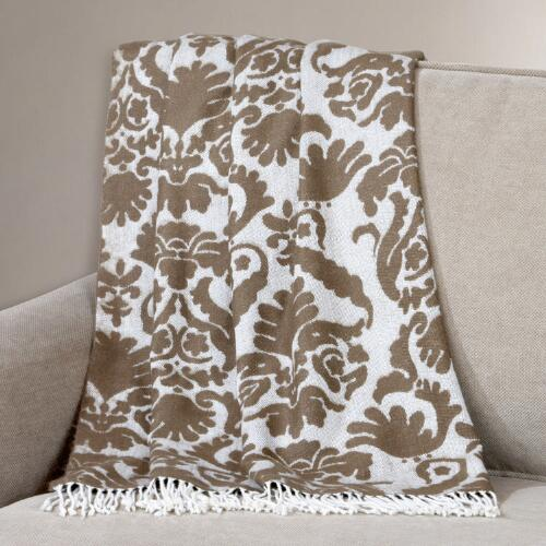 Ivory/Brown Damask Throw