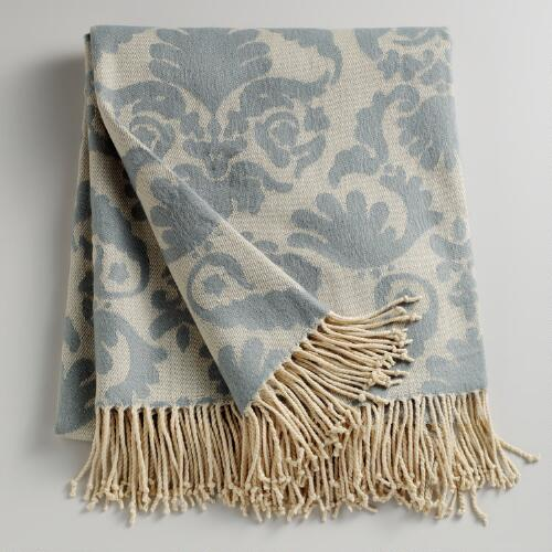 Porcelain Blue Damask Throw