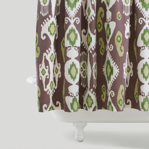 Purple/Green Ikat Shower Curtain