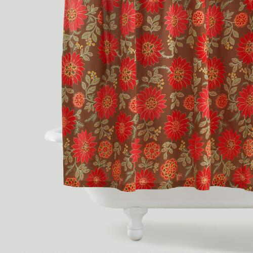 Ada Brown Floral Shower Curtain