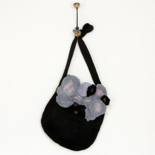 Black Felt Flower Messenger Bag