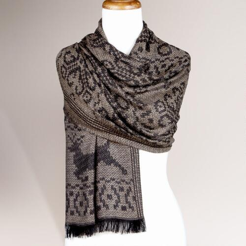 Taupe and Black Fairisle Jacquard Shawl