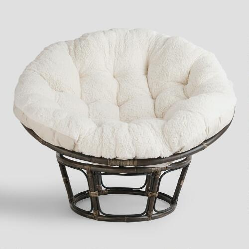 Ivory Faux Fur Papasan Cushion