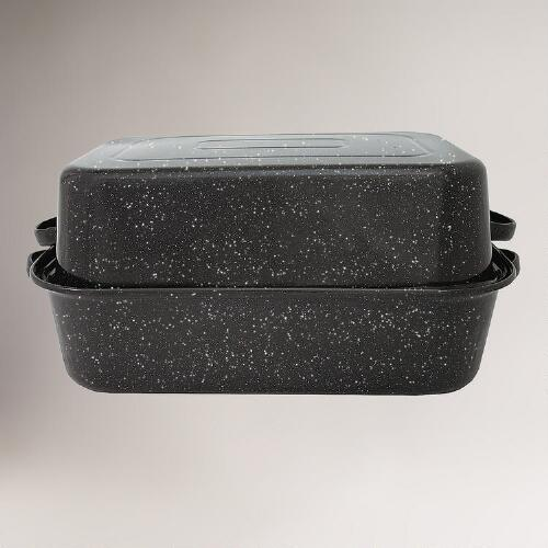 "Black Graniteware 21"" Covered Rectangle Roaster"
