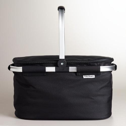 Black Insulated Collapsible Tote