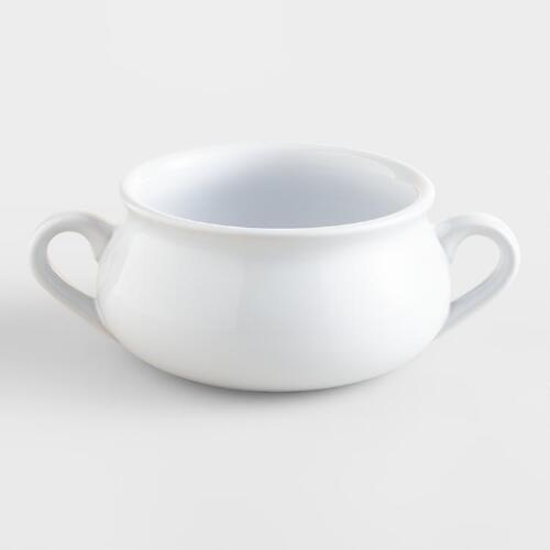 White Double-Handled Soup Crock, Set of 2