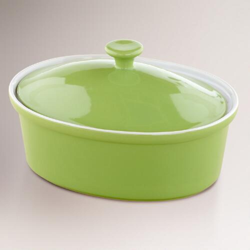 Green Oval Covered Casserole Baker