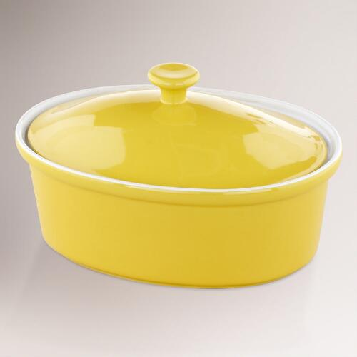 Sunshine Yellow Oval Covered Casserole Baker