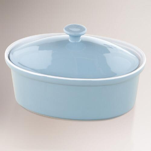 Light Blue Oval Covered Casserole Baker