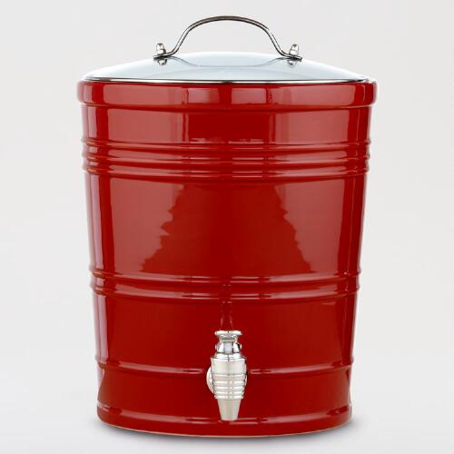 Red Ceramic Barrel Dispenser