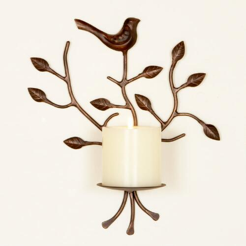 Metal Bird Sconce Pillar Candleholder