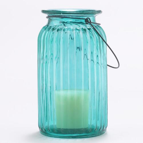 Teal Ribbed Glass Lantern Candle Holder