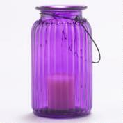 Purple Ribbed Glass Lantern Candle Holder