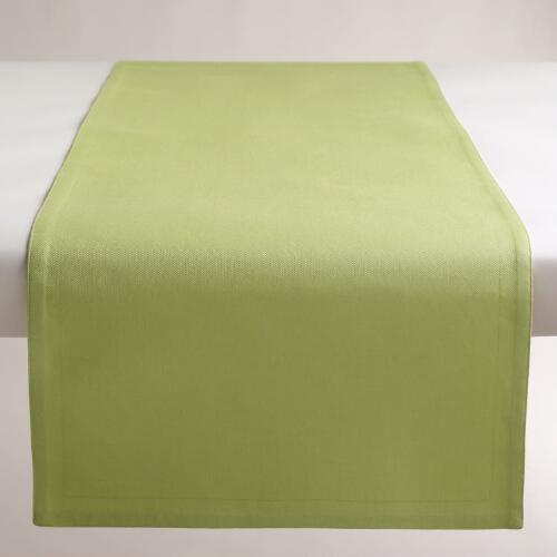 Reversible Spring Green Buffet Table Runner