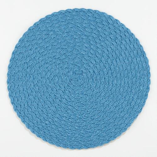 Pagoda Blue Round Braided Placemats, Set of 4