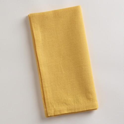 Yellow Khadi Napkins, Set of 4