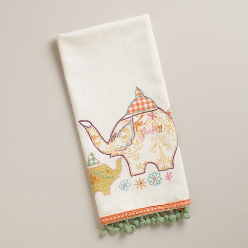 Elephant Tea Towel with Pom Poms