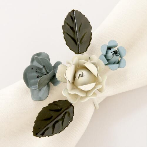 Blue Metal Flower Napkin Rings, Set of 4