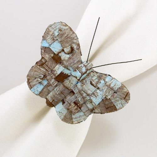 Wood Chip Butterfly Napkin Rings, Set of 4