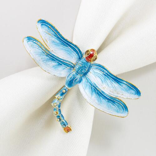 Cloisonné Dragonfly Napkin Rings, Set of 2