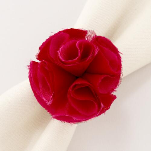 Sangria Rose Napkin Rings, Set of 4
