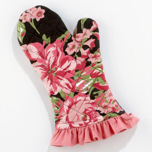 Black Rose Oven Mitt, Set of 2
