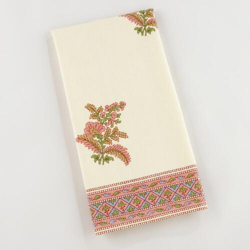 Pink/Green Bhuti Floral Kitchen Towels, Set of 2