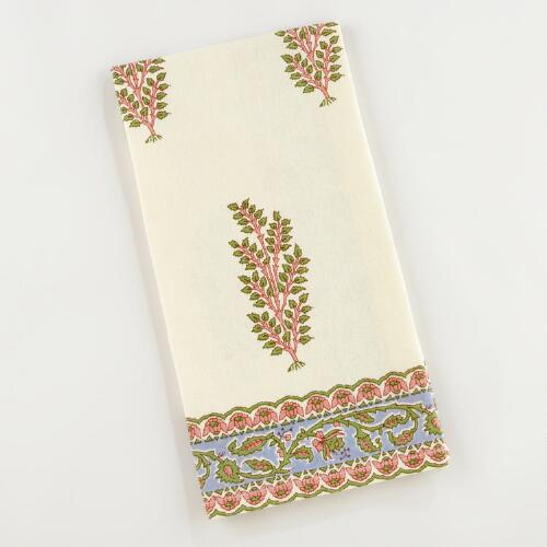 Pink/Green Leaf Kitchen Towels, Set of 2
