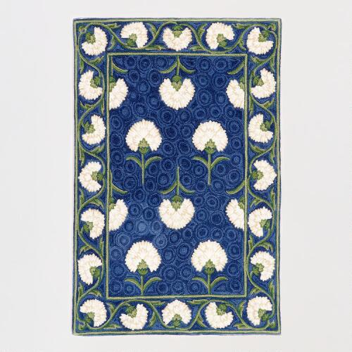 Blue and White Floral Crewel Rug