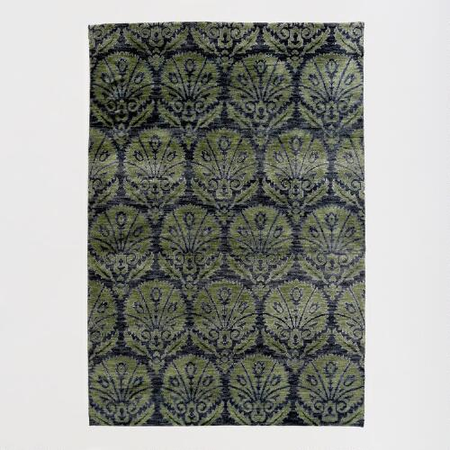 Green Hand-Knotted Medallion Rug