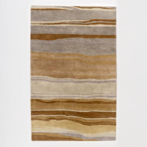 Brown/Grey Hand-Tufted Wavy Stripe Rug