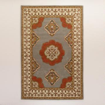 Floating Medallion Tufted Wool Rug