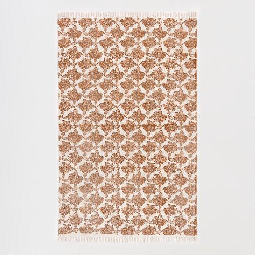 Natural/Rust Reversible Printed Rug