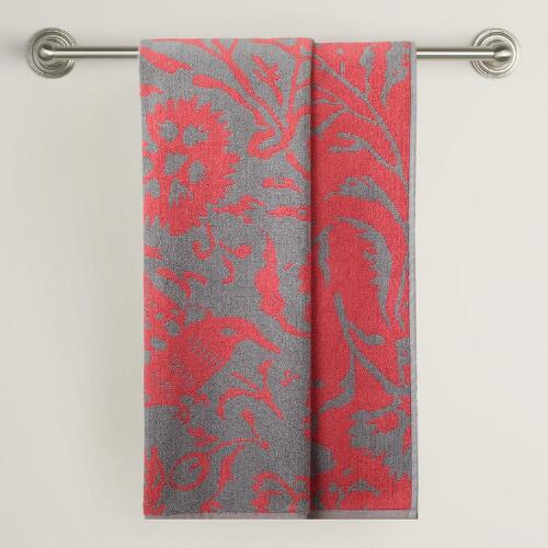 Gray/Coral Parnavi Bath Towel
