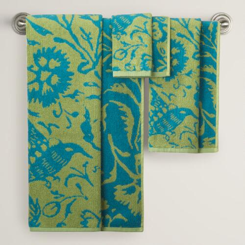 Parnavi Fern Pagoda Blue Bath Towel Collection