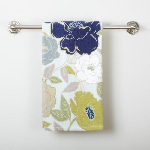 Painterly Floral Printed Velour Bath Towel