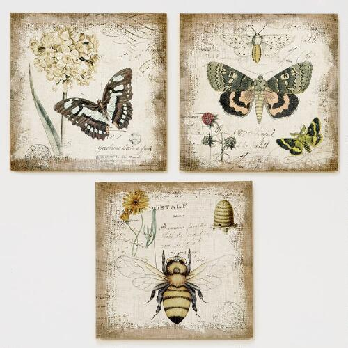 Hessian Jute Butterfly & Bee, Set of 3