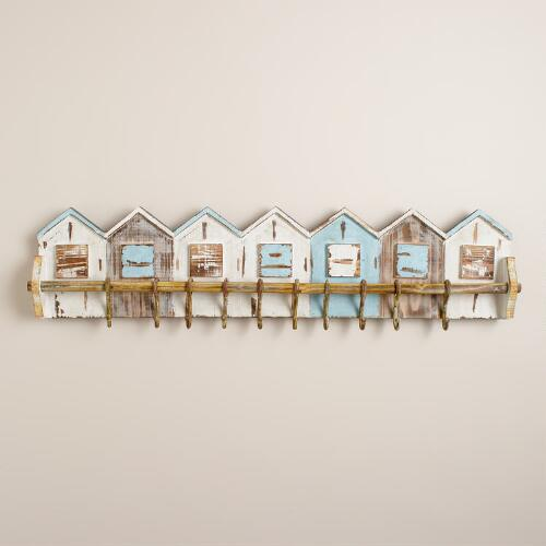 Boathouses with Hooks Wall Rack