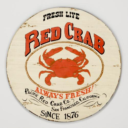Round Red Crab Sign