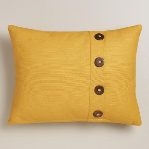 Yellow Ribbed Lumbar Pillow with Buttons