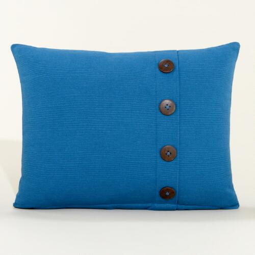 Seaport Blue Ribbed Throw Pillow with Buttons