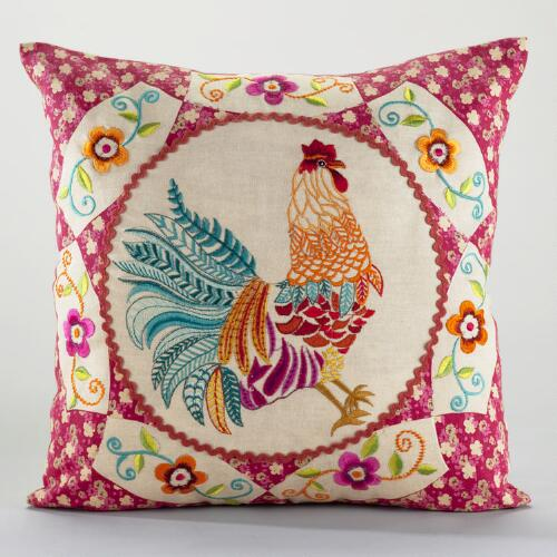 Rooster Cameo Throw Pillow