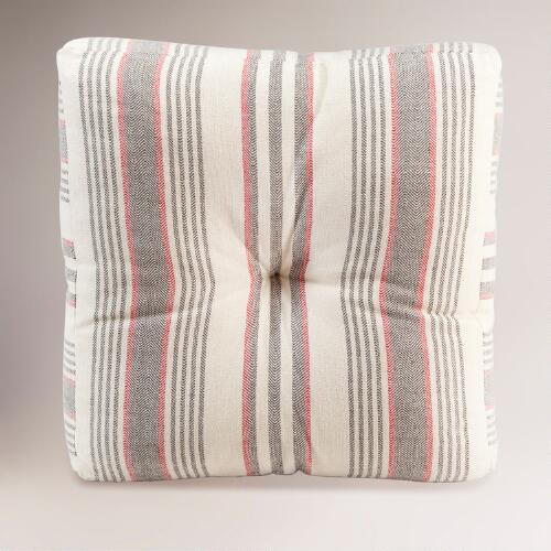Gray/Red Herringbone Floor Cushion