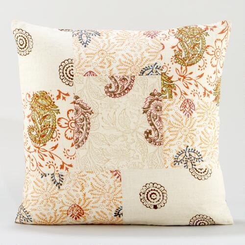 Block Print Patchwork Throw Pillow