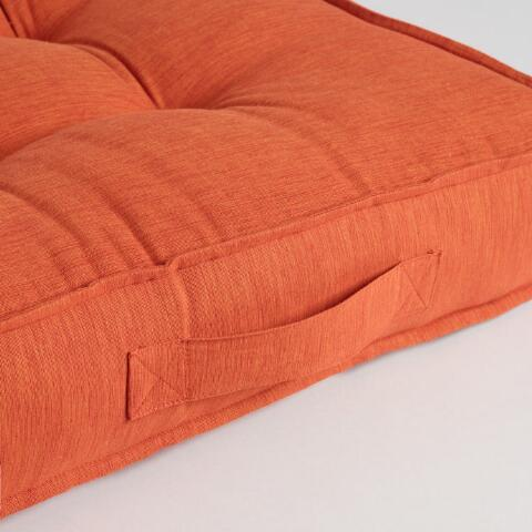Orange Floor Pillows : Orange Khadi Tufted Floor Cushion World Market